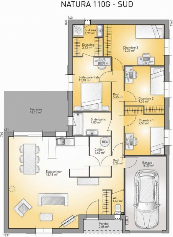 65 best plan maison images on pinterest floor plans for Plan maison sud