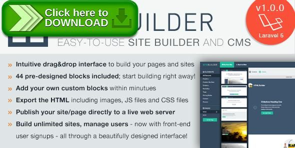 [ThemeForest]Free nulled download SiteBuilder Laravel - Drag&Drop site builder and CMS from http://zippyfile.download/f.php?id=53712 Tags: ecommerce, cms, content management system, drag and drop, laravel, Light CMS, page builder, site builder, website builder