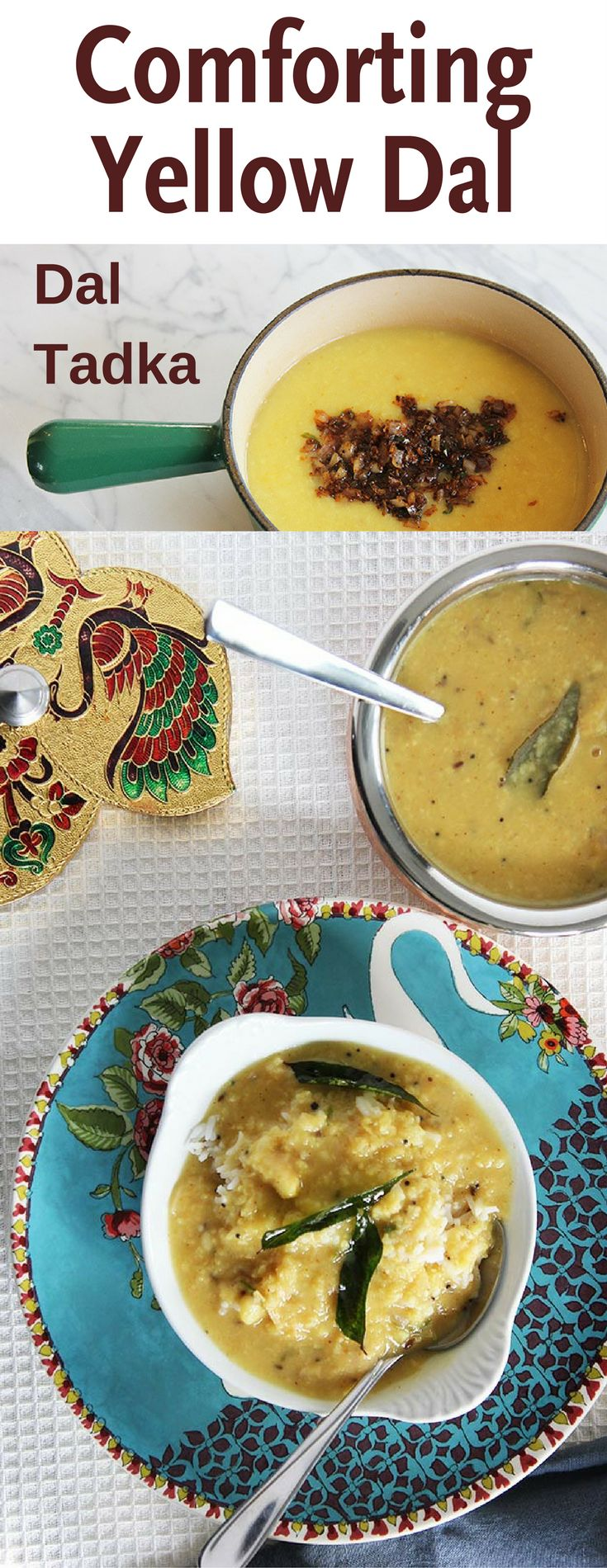 Dal Tadka is a soft-textured lentil soup, flavored with cumin seeds, black mustard seeds, ginger, turmeric, green chili, and shallots, cooked in ghee. This flavoring is the tadka part of Dal Tadka. Tadka is a Hindi word that translates as tempering.