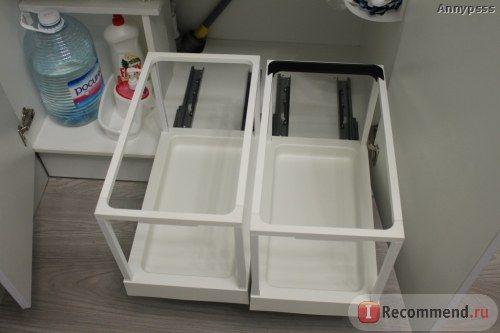 Выдвижной поднос IKEA УТРУСТА - «Выдвижное прямоугольное мусорное ведро для кухни или как рационально обустроить пространство под мойкой / раковиной?! + фото»  | Отзывы покупателей