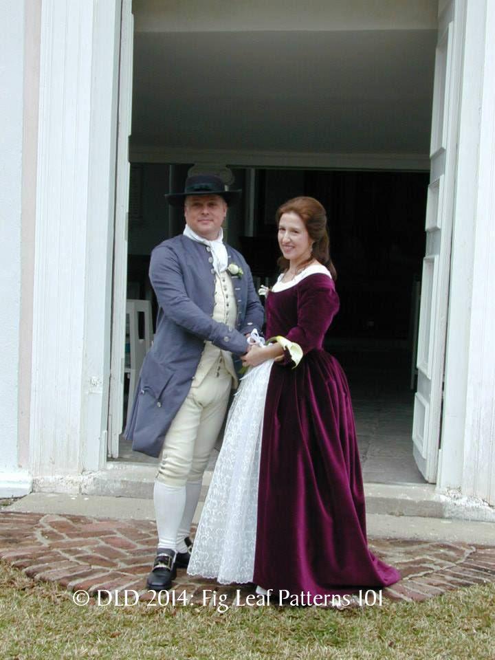 Wedding day of Jason Smith & Susannah Bridges Smith.  Susan made the FL 101 dress out of purple velvet.