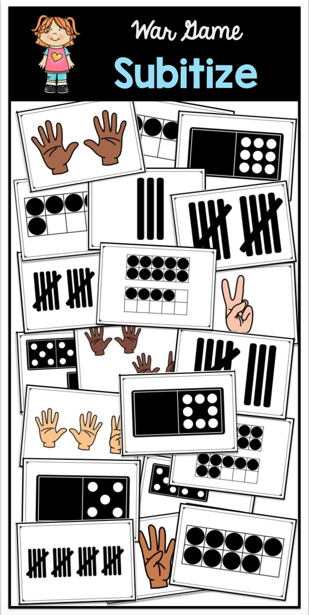 Build number sense in kindergarten and first grade with this fun subitizing war game. Features ten-frames, tally marks, domino dots and finger patterns.