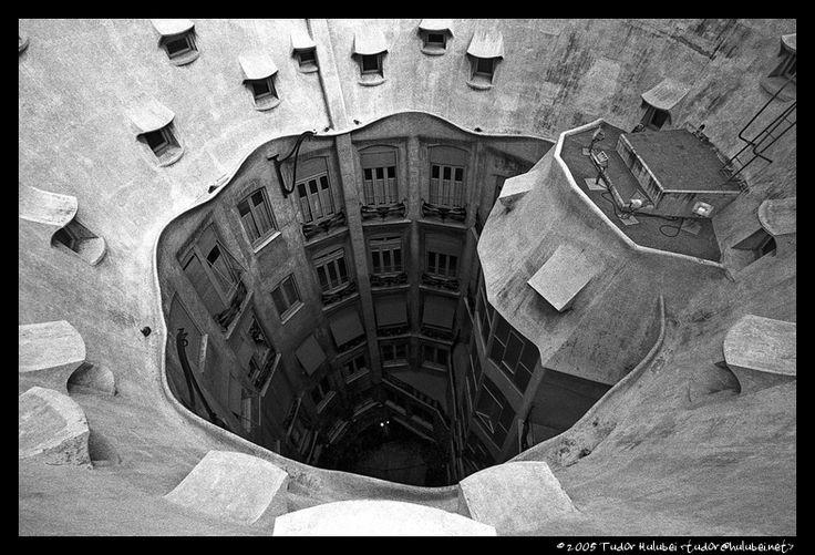 View of the interior court of Antoni Gaudi's La Pedrera, Barcelona, Spain; (Click for next photo)