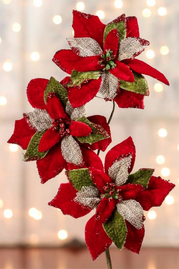 How to start a christmas decor business - Burlap And Velvet Artificial Poinsettia Pick Picks And Stems Floral Supplies Craft Supplies Christmas 2017