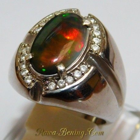 3D Black Opal Silver Ring 9US