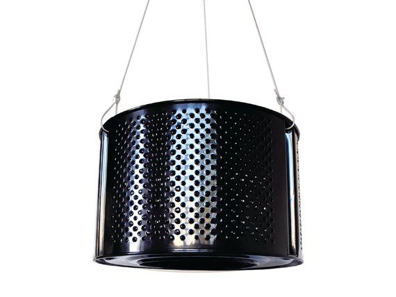 BLACK recycled drum lamp washing mashine by ekodizajn on Etsy