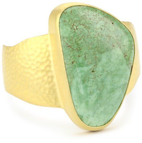 """Heather Benjamin """"Sea"""" Green Turquoise Cuff Bracelet Heather Benjamin. Save 77 Off!. $157.99. Made in Indonesia. Possible variation in stone shape & size. The soft Green color of the Turquoise makes this an easy to wear statement piece. Each item is unique, and one of a kind, so stone size, shape and color may vary. Each stone is natural, hand cut, and the starting point with which the cuff is created"""