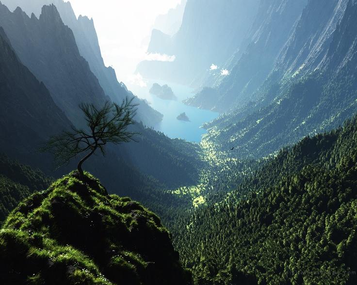 Glacier National Park is located in the U.S. state of Montana, south from the Canadian borders of Alberta and British Columbia.   モンタナ州のグレーシャー国立公園で撮影された美しいU字谷の写真。谷の下部には湖の水が入っており、フィヨルドのような景観になっている。撮影者は壁紙用の画像を制作している Ryan Bliss 氏。  https://twitter.com/ogugeo/status/313046446779817986