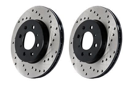 Stoptech 2011-2015 Jeep Grand Cherokee/ 2011-2015 Dodge Durango Drilled Sport Brake Rotor (Vented Rear Disc/ 350mm Front Disc)