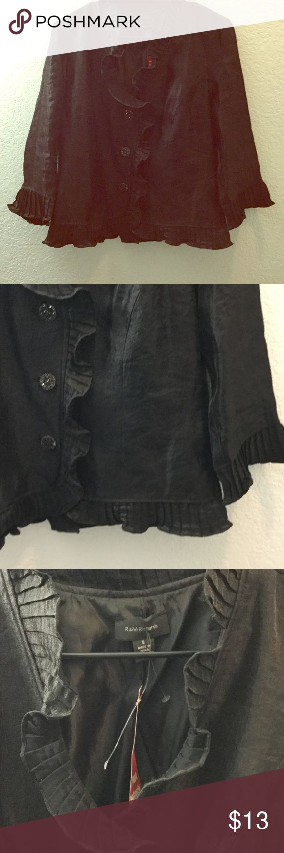 Black ruffle jacket😃!!! Black ,button-up , fancy jacket with ruffles on the sleeves and neck💕 R&M Richards Jackets & Coats Utility Jackets