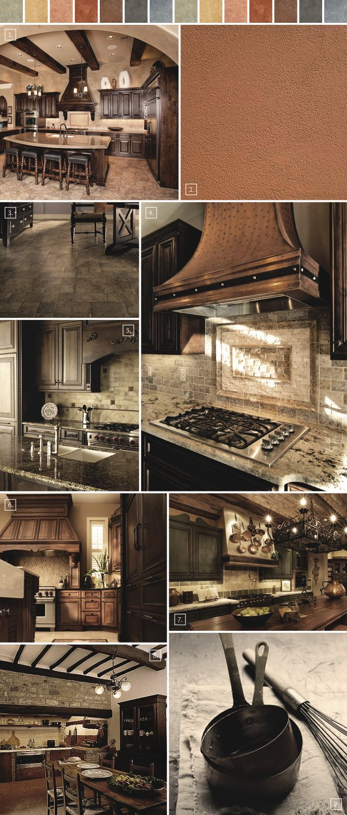 Color swatches at the top give interesting color ideas!  (Tuscan Kitchen Decor Ideas Mood Board | Home Tree Atlas)