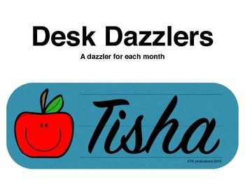 Desk Dazzlers are name plates for students' desks that they create in their own handwriting. Keep the monthly name plates in the student's portfolio and watch as their handwriting improves throughout the year. There are Desk Dazzlers for each month of the year.
