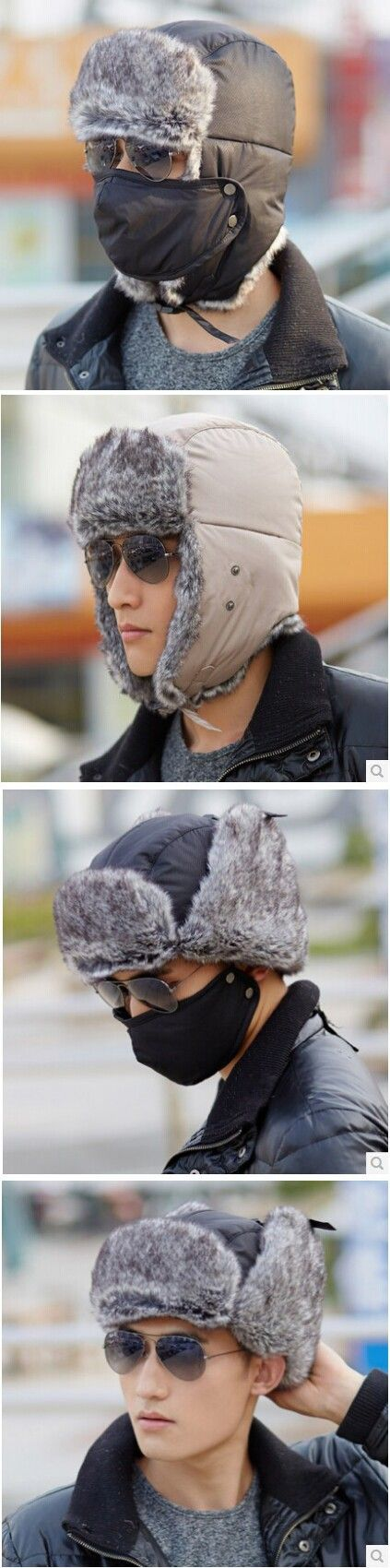 Wholesale price 2014 new design stylish mask riding warm men korean russian winter hat with ear flaps free shipping $12.8