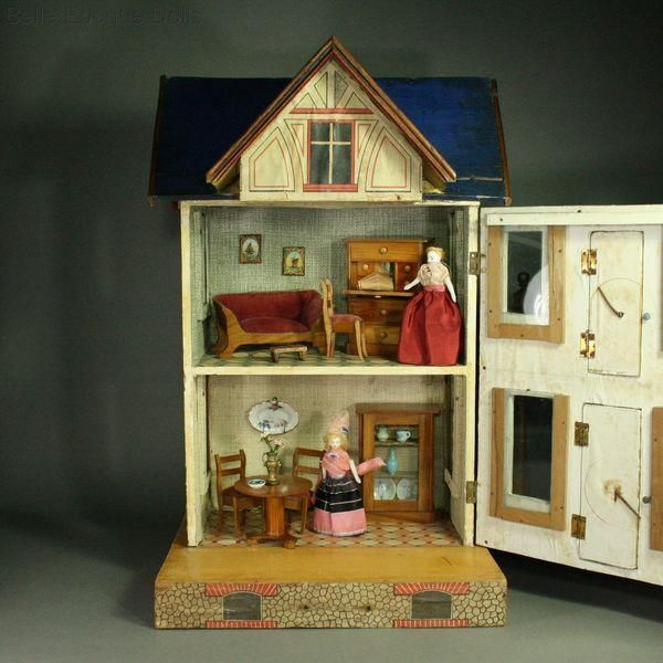 Antique Dolls House Furniture / German Wooden Dollhouse Furnishings with  Lithographed Paper Designs - Ref - 570 Best Gottschalk Dolls Houses Images On Pinterest Doll Houses