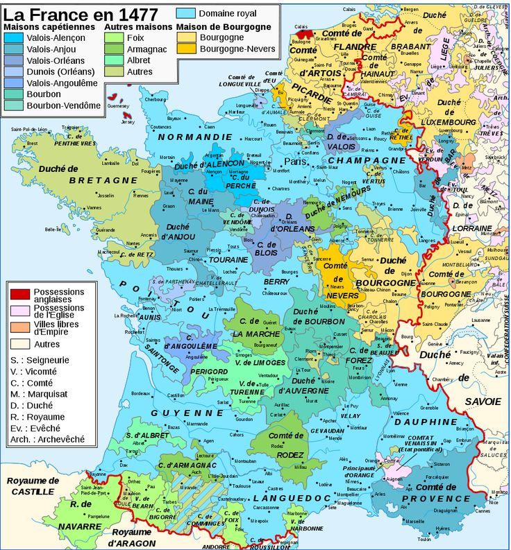 Carte de la France à la renaissance en 1477