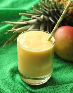 1 Mango, diced  2 Rings of pineapple  1 heaping tablespoon of coconut yogurt  1tablespoon coconut milk  1/8 cup apple juice   6 Coconut water ice cubes or regular water ice cubes  Instructions  Place all ingredients into blender and puree until smooth.