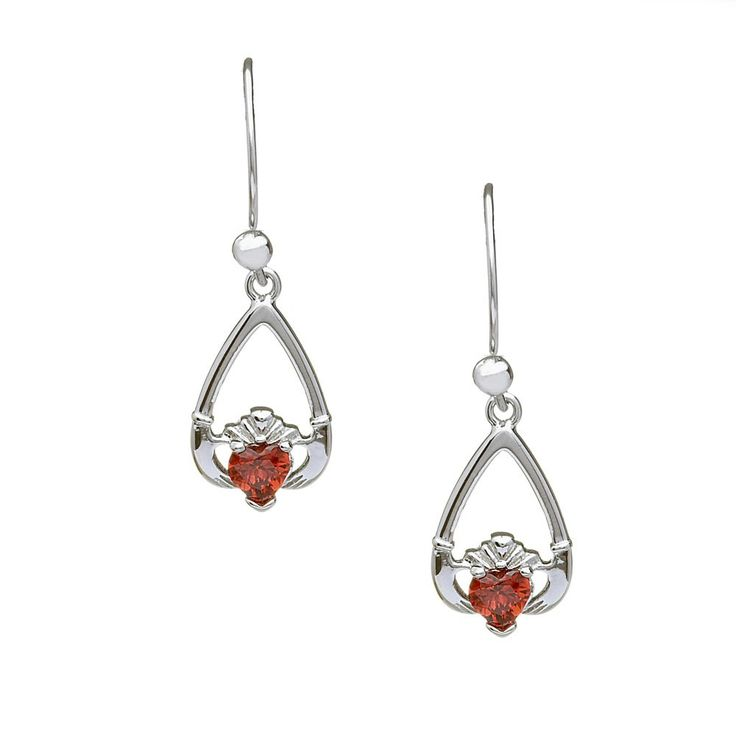 January Birthstone Claddagh Earrings - Claddagh Birthstone Jewelry - Rings from Ireland-Garnet: Love & Protection