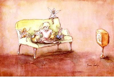 Signed limited edition print 'Watching TV' by June Evelyn from ' Phoebe`s Book of Fairy Stories'. Available at Books Illustrated. http://www.booksillustrated.com.au/bi_prints_indiv.php?id=43&image_id=220