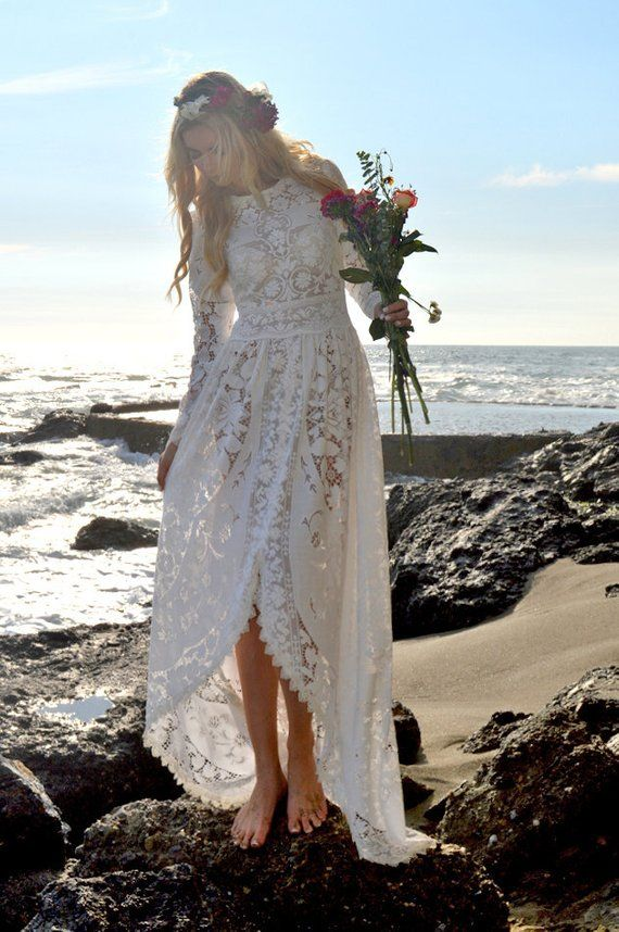 Hochzeitskleid Boho Hochzeit Kleid Spitze viktorianischen Edwardian Fischschwanz Hippie Festival Hi-Low nicht-traditionellen Garten weiß Saldana Vintage Dinah