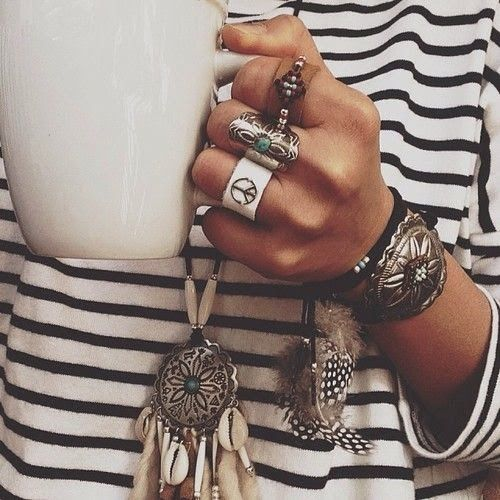 Bohemian's necklace, bracelets and rings