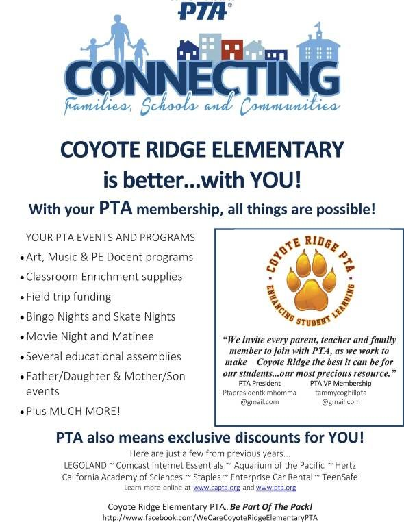 41 best pta membership images on pinterest childhood education coyote ridge pta website become a pta member pronofoot35fo Images