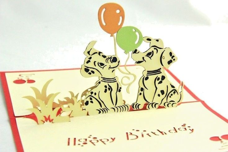 Birthday Card Spotty Dog with Balloon 3D Pop up Card #Binghambailey