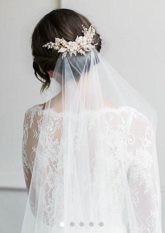 Romantic Wedding Hairstyles | Brunette Formal Updo | Brunette Wedding Hairstyles | Bridal Veil | Ornate Hairpin | Classic Wedding Hairdos