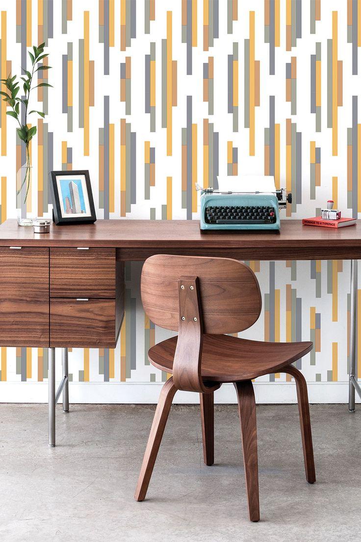 Tempaper Yellow/Gray Bars Modern wallpaper designs
