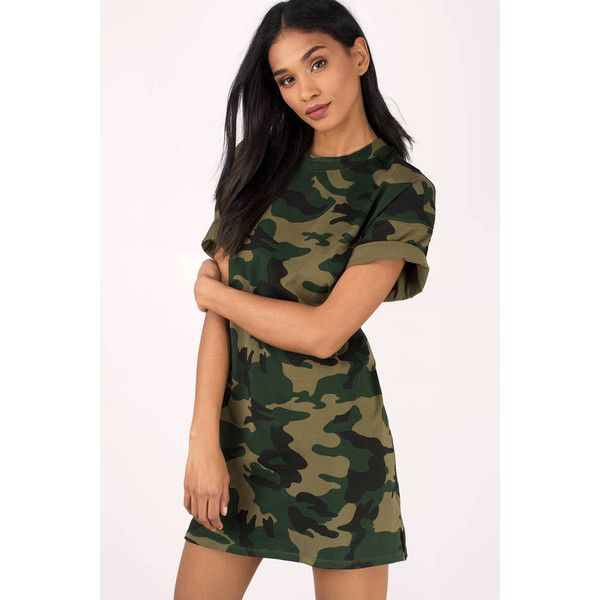 Tobi After Party Camo T-Shirt Dress ($58) ❤ liked on Polyvore featuring dresses, olive, day party dresses, camo dress, olive t shirt dress, camouflage dresses and camoflauge dress