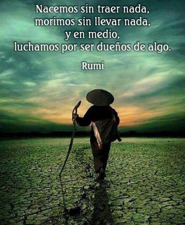 ... Nacemos sin traer nada, morimos sin llevar nada, y en medio, luchamos por ser dueños de algo. Rumi.
