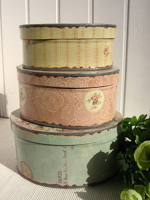 Vintage Rose Brocante  Vintage Vanille Old hat boxes in a stack Repinned by www.silver-and-grey.com