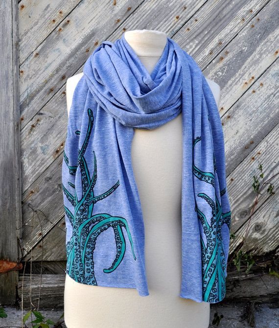 Tentacle Scarf on Triblend Blue by NewDuds on Etsy #shopumbabox #handmade