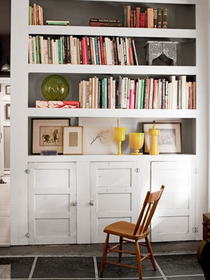 built-in bookcase - notice old cabinet doors