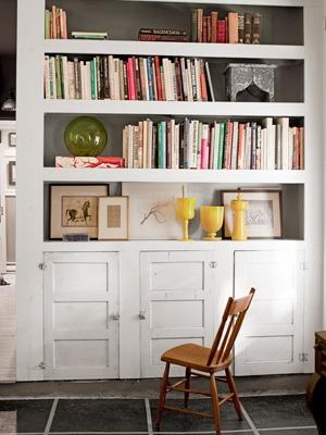 built-in bookcase - notice old cabinet doors