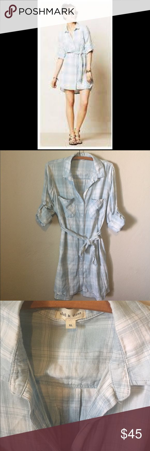 Anthropologie Cloth and Stone shirt dress Super cute flannel shirt dress with a blue and white plaid pattern, very comfortable. Great condition Anthropologie Dresses