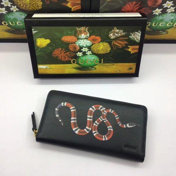 9c5af82220 Gucci 451273-7 Kingsnake print leather zip around wallet | Gucci ...