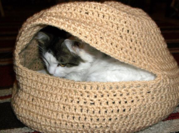Hand Crochet Cat Oven or Cat Bed in TAN by Designs06 on Etsy, $30.00