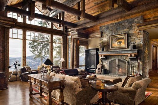Gorgeous rustic decor. The view out the window doesn't hurt either. Love the coziness of this room, despite the size, you feel like it would be very comfortable. http://celebrateanddecorate.com/sunday-style-a-lake-house/