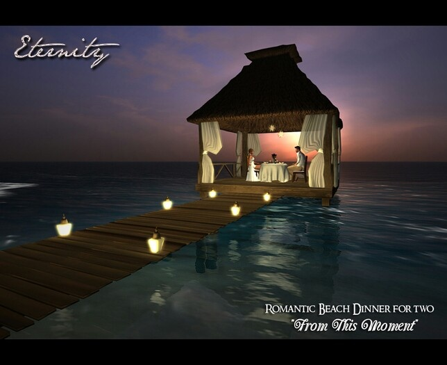 Romantic dinner for two on exotic beach