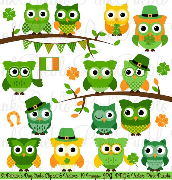 St Patrick's Day Owl Clipart Clip Art St Patricks by PinkPueblo