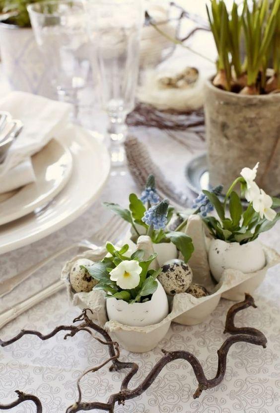 Vase aus Eierschale selber machen-deko rustikal-zweig tisch-schmuck