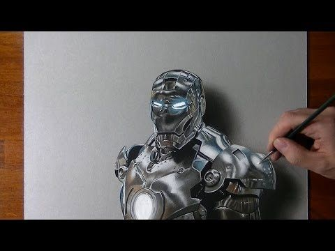 Drawing time lapse: Iron Man and other videos of hyperrealistic art by Marcello Barenghi