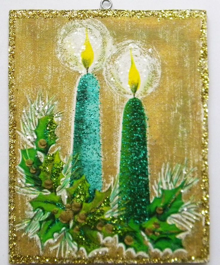 Glowing Candles and Holly Glittered Christmas Ornament Vintage Greeting Card