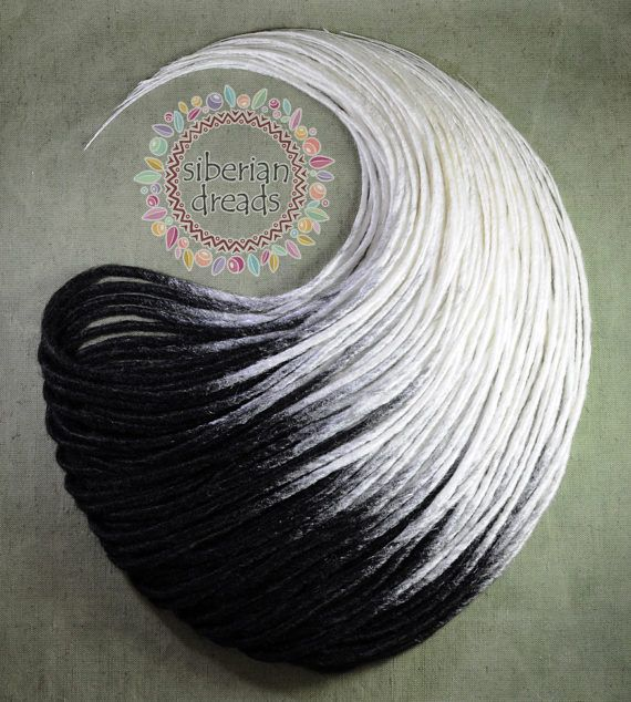 Black and White Ombre Double Ended Synthetic Dreadlock Extensions. This is beautiful Soft and Smooth dreads set - Made to Order. 1. Material - 100% kanekalon (synthetic hair).  2. Texture - Soft & Smooth dreads  3. Colour - Black & White Ombre 4. Length - 16 inches ~ 20 inches (40cm ~ 50cm) - 20 inches ~ 24inches (50cm ~ 60cm)  5. Thickness - 0.8cm ~ 1cm (Getting thinner toward the end)  6.Processing time - Ombre dreads will take time a week for Half Set(20DE ~ 30DE) and 14 days for ...