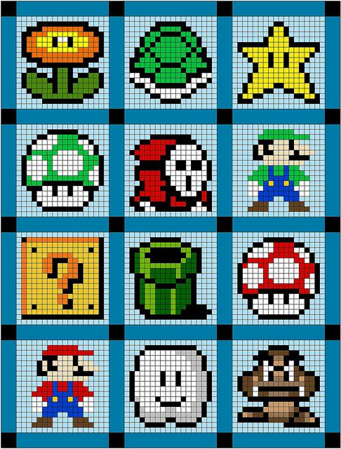 mario quilt by Cut To Pieces, via Flickr - patterns could be used for cs