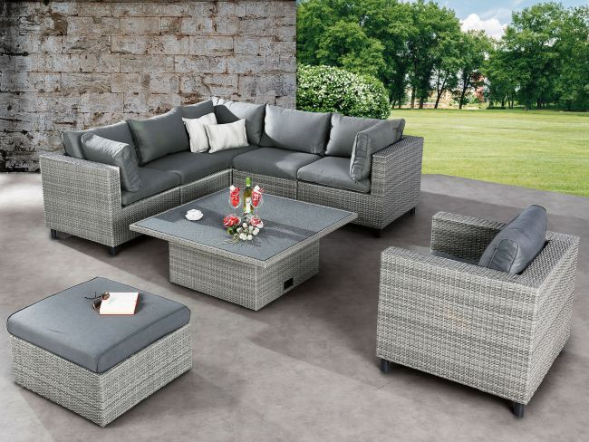 Rattan Garten Lounge Bonaire Grau Sofa Sessel Tisch