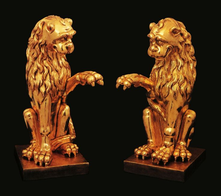 Gilded-wood lions from the Castrum Doloris of Franciszek Salezy Potocki and his wife Anna Elżbieta Potocka by Anonymous from Krystynopol, 1758, Muzeum Prowincji Ojców Bernardynów w Leżajsku; funerals of Franciszek Salezy and Anna Elżbieta in 1772 at Krystynopol assumed the character of magnificent baroque spectacles and were attended by numerous clergy of the Roman Catholic, Greek and Armenian rites as well as military detachments and crowds of nobility