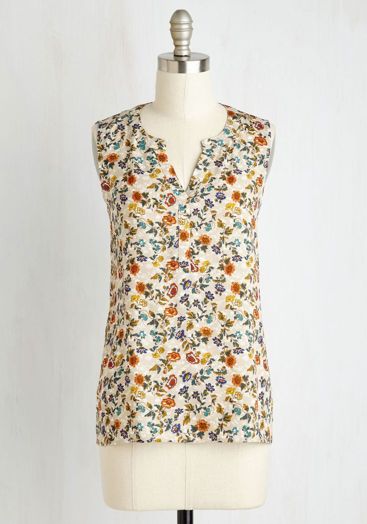 Tete-a-Tea Top. This morning its just you, your favorite morning brew, and this beautiful sleeveless blouse contributing bliss to the start of your day. #multi #modcloth