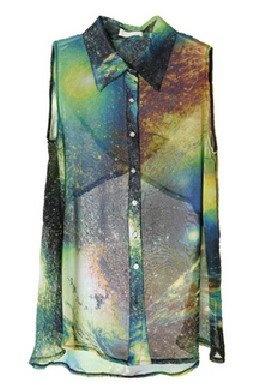 SP 010 женщин моды прозрачный шифон Пряжа Черный Sexy Vintage космической Вселенной галактики печати блузка / рубашка Бесплатная доставка в Женщины одежда и аксессуары на Aliexpress.com
