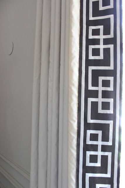 White curtains with Schumacher (Mary McDonald) trim
